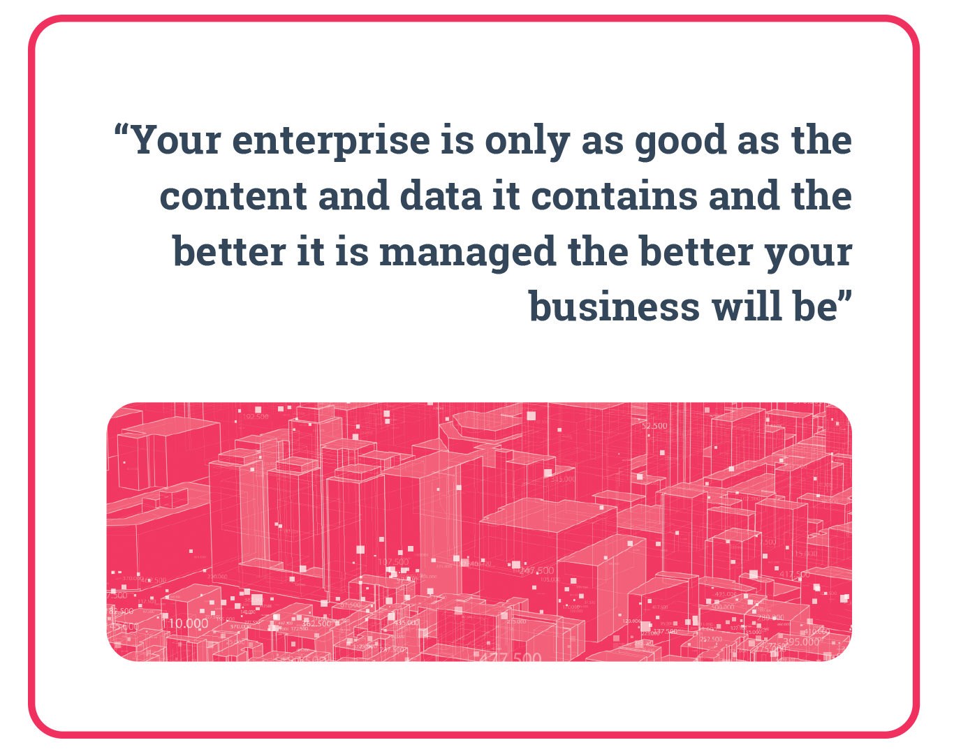 """Quote: """"Your enterprise is only as good as the content and data it contains and the better it is managed the better your business will be"""" CMS Wire. Data Integration."""
